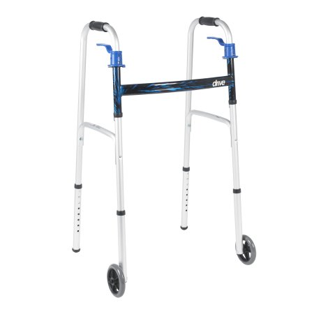 Dual Release Folding Walker Adjustable Height drive™ Aluminum Frame 350 lbs. Weight Capacity 32 to 39 Inch Height Product Image
