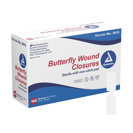 dynarex® Butterfly Wound Closure Strip, 3/8 by 1-13/16 Inches