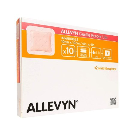 Thin Silicone Foam Dressing Allevyn Gentle Border Lite 4 X 4 Inch Square Silicone Gel Adhesive with Border Sterile Product Image