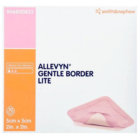 Thin Silicone Foam Dressing Allevyn Gentle Border Lite 2 X 2 Inch Square Silicone Gel Adhesive with Border Sterile Product Image