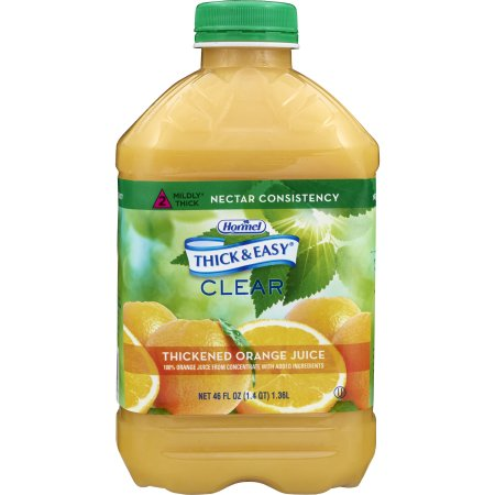 Thickened Beverage Thick & Easy® 46 oz. Bottle Orange Juice Flavor Ready to Use Nectar Consistency Product Image