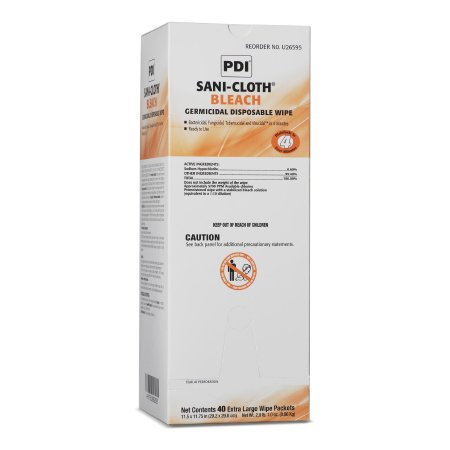 Sani-Cloth® Bleach Surface Disinfectant Cleaner Premoistened Germicidal Wipe 40 Count Individual Packet Disposable Chlorine Scent NonSterile Product Image