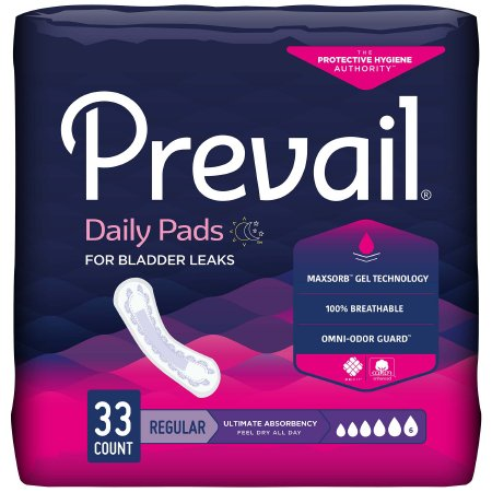 Bladder Control Pad Prevail® Daily Pads Ultimate 16 Inch Length Heavy Absorbency Polymer Core One Size Fits Most Adult Female Disposable Product Image