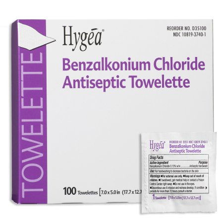 Sanitizing Skin Wipe Hygea® Individual Packet BZK (Benzalkonium Chloride) Scented 100 Count Product Image
