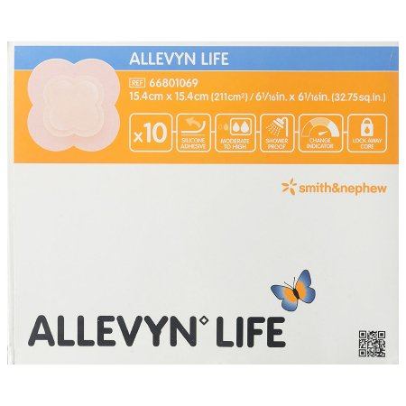 Silicone Foam Dressing Allevyn Life 6 X 6 Inch Quadrilobe Silicone Adhesive with Border Sterile Product Image