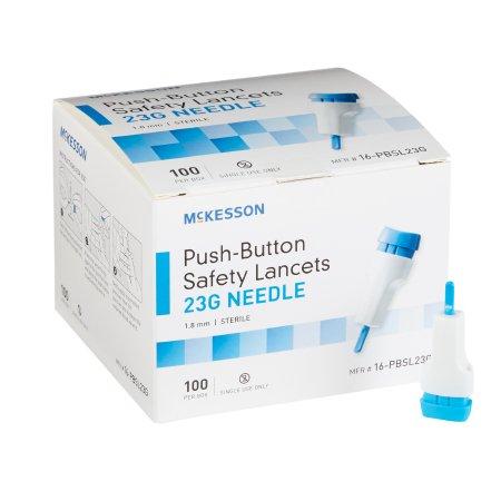 Lancet McKesson Fixed Depth Lancet Needle 1.8 mm Depth 23 Gauge Push Button Activated Product Image