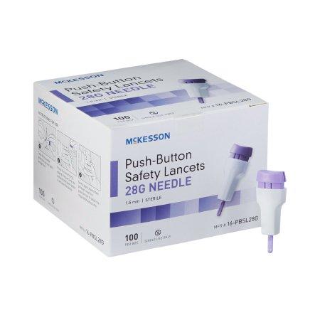 Lancet McKesson Fixed Depth Lancet Needle 1.5 mm Depth 28 Gauge Push Button Activated Product Image