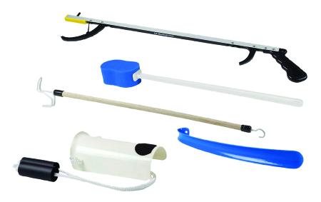 ADL Hip / Knee Equipment Kit FabLife™ Deluxe Reacher - 32 Inch Length / Shoehorn - 18 Inch Length / Dressing Stick - 24 Inch Length Product Image