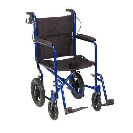 Transport Wheelchair drive™ Expedition Aluminum Frame with Blue Finish 300 lbs. Weight Capacity Full Length / Fixed Height / Padded Arm Black Upholstery Product Image