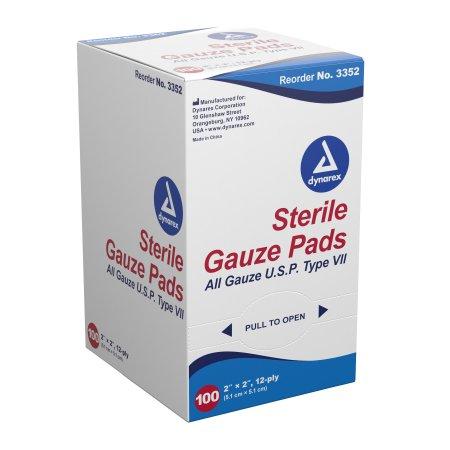 Gauze Sponge Dynarex® Gauze 12-Ply 2 X 2 Inch Square Sterile Product Image