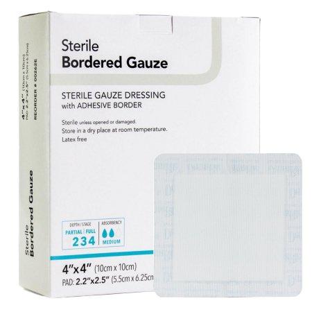 Adhesive Dressing DermaRite® Bordered Gauze 4 X 4 Inch Gauze Square White Sterile Product Image