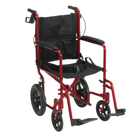 Lightweight Transport Chair Aluminum Frame with Red Finish 300 lbs. Weight Capacity Fixed Height / Padded Arm Black Upholstery Product Image