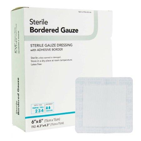 Adhesive Dressing DermaRite® Bordered Gauze 6 X 6 Inch Gauze Square White Sterile Product Image