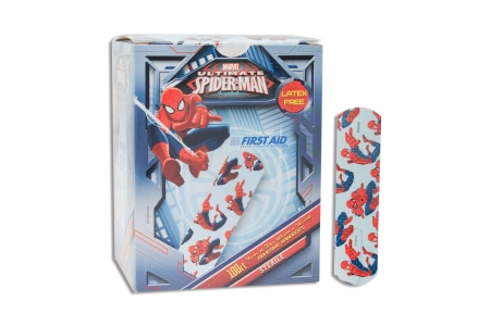 Adhesive Strip American® White Cross Stat Strip® 3/4 X 3 Inch Plastic Rectangle Kid Design (Spider-Man) Sterile Product Image