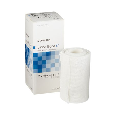 Unna Boot McKesson 4 Inch X 10 Yard Cotton Zinc Oxide NonSterile Product Image