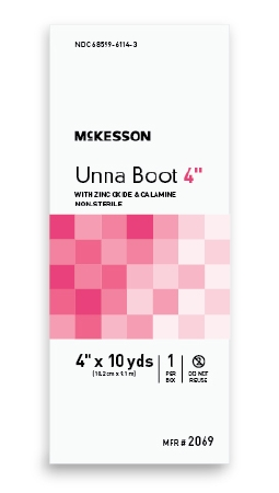 Unna Boot McKesson 4 Inch X 10 Yard Cotton Calamine / Zinc Oxide NonSterile Product Image