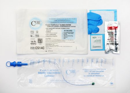 Intermittent Catheter Cure Catheter Closed System / Coude Tip 14Fr (1/each)