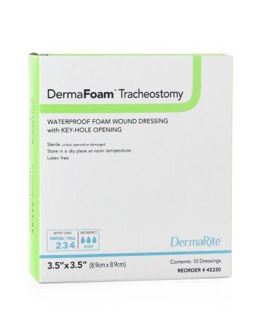 Foam Dressing DermaFoam Tracheostomy 3-1/2 x 3-1/2