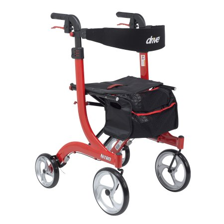 drive™ Nitro 4-wheel rollator, 10 in. Wheel, 36 - 41 in. Handle, Red, 300 lbs, Aluminum Frame