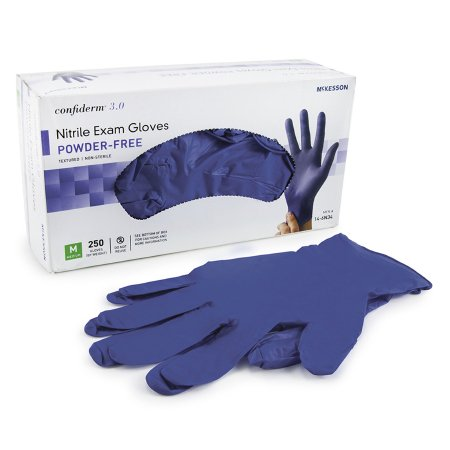 Exam Glove McKesson Confiderm® 3.0 Medium NonSterile Nitrile Standard Cuff Length Textured Fingertips Blue Not Chemo Approved Product Image