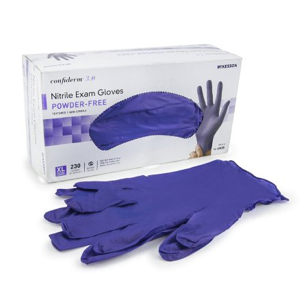 Exam Glove McKesson Confiderm® 3.0 X-Large NonSterile Nitrile Standard Cuff Length Textured Fingertips Blue Not Chemo Approved Product Image