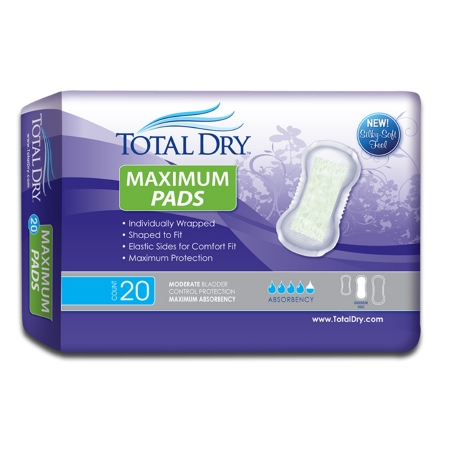 Bladder Control Pad TotalDry™ 13-3/4 Inch Length Moderate Absorbency Polymer Core Regular Adult Female Disposable Product Image