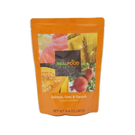 Tube Feeding Formula Real Food Blends™ 9.4 oz. Pouch Ready to Use Salmon Oats / Squash Adult / Child Product Image