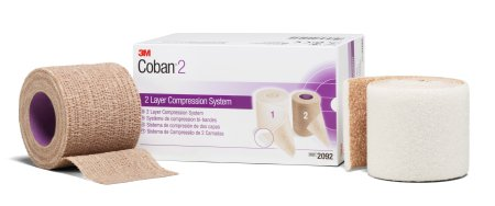 2 Layer Compression Bandage System 3M™ Coban™ 2 2 Inch X 1-3/10 Yard / 2 Inch X 3 Yard 35 to 40 mmHg Self-adherent Closure Tan / White NonSterile Product Image