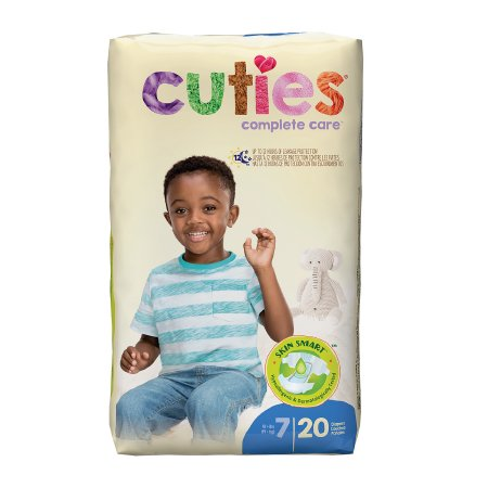 Unisex Baby Diaper Cuties® Essential Size 7 Disposable Heavy Absorbency Product Image