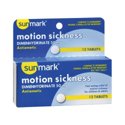 sunmark® Dimenhydrinate Nausea Relief, 12 Tablets per Box