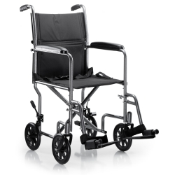McKesson Lightweight Transport Chair, Black with Silver Vein Finish