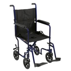 McKesson Lightweight Transport Chair, Black with Blue Finish