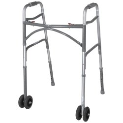 McKesson Folding Walker, 32 - 39 in., Silver, 500 lbs. Capacity, Steel