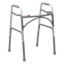 McKesson Folding Walker, 32.5 - 39 in., Silver, 500 lbs. Capacity, Steel