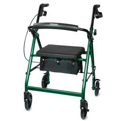 McKesson 4-wheel rollator, 6 in. Wheel, 32 - 37 in. Handle, Green, 300 lbs, Aluminum Frame