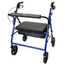 McKesson 4-Wheel Bariatric Rollator, 8 in. Wheel, 37 - 39 in. Handle, Blue, 400 lbs, Steel Frame
