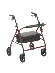 McKesson 4-Wheel Bariatric Rollator, 8 in. Wheel, 37 - 39 in. Handle, Red, 400 lbs, Steel Frame