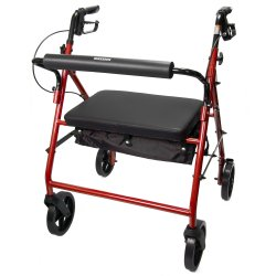 McKesson 4-Wheel Bariatric Rollator, 8 in. Wheel, 37 - 39 in. Handle, Red, 400 lbs, Steel Frame