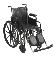 McKesson Standard Wheelchair with Padded, Removable Arm, Composite Mag Wheel, 16 in. Seat, Swing-Away Elevating Footrest, 250 lbs