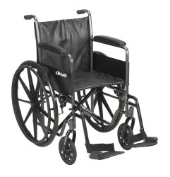 McKesson Standard Wheelchair with Padded Arm, Composite Mag Wheel, 18 in. Seat, Swing-Away Footrest, 300 lbs