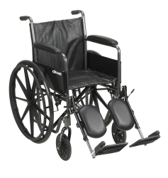 McKesson Standard Wheelchair with Padded Arm, Composite Mag Wheel, 18 in. Seat, Swing-Away Elevating Footrest, 300 lbs