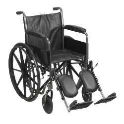 McKesson Standard Wheelchair with Padded, Removable Arm, Composite Mag Wheel, 18 in. Seat, Swing-Away Elevating Footrest, 300 lbs.