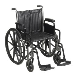 McKesson Standard Wheelchair with Padded, Removable Arm, Composite Mag Wheel, 20 in. Seat, Swing-Away Footrest, 350 lbs