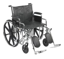 McKesson Heavy-Duty Wheelchair with Padded, Removable Arm, Composite Mag Wheel, 22 in. Seat, Swing-Away Elevating Footrest, 450 lbs