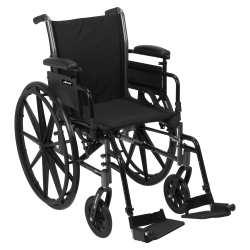McKesson Lightweight Wheelchair with Flip Back, Padded, Removable Arm, Composite Mag Wheel, 16 in. Seat, Swing-Away Footrest, 300 lbs