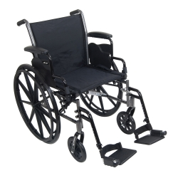 McKesson Standard Wheelchair with Flip Back, Padded, Removable Arm, Composite Mag Wheel, 18 in. Seat, Swing-Away Footrest, 300 lbs.