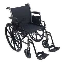 McKesson Standard Wheelchair with Flip Back, Padded, Removable Arm, Composite Mag Wheel, 18 in. Seat, Swing-Away Footrest, 300 lbs