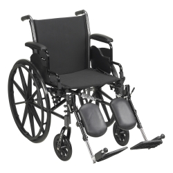 McKesson Lightweight Wheelchair with Flip Back, Padded, Removable Arm, Composite Mag Wheel, 18 in. Seat, Swing-Away Elevating Footrest, 300 lbs