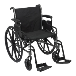 McKesson Lightweight Wheelchair with Flip Back, Padded, Removable Arm, Composite Mag Wheel, 20 in. Seat, Swing-Away Footrest, 300 lbs.