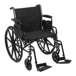 McKesson Lightweight Wheelchair with Flip Back, Padded, Removable Arm, Composite Mag Wheel, 20 in. Seat, Swing-Away Footrest, 300 lbs